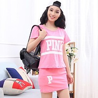 PINK Victoria's Secret Women Fashion Shirt Top Tee Skirt Set Two-Piece
