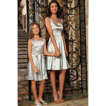 Silver Grey Sleeveless Skater Fit & Flare Party Mother Daughter Dress