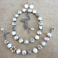 Swarovski crystal white statement necklace, 11mm crystals, pearls, floral elements, better than sabika