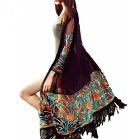 Molly Vintage Boho Long Fringed Cardigan / Cover Up