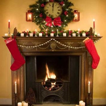 Christmas Fireplace Wood Backdrop - 5x6 - LCPC207 - LAST CALL