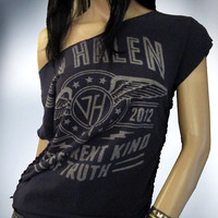 Shredded Slashed Weaved Van Halen Upcycled Band T Shirt OOAK