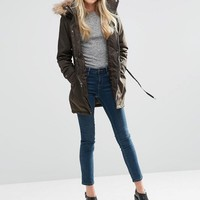 Vila | Vila Noela Fur Trim Parka at ASOS