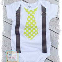 Baby Boy Tie with Suspenders, Baby Boy Clothes, Lime Green White Polka Dot Tie/Gray Suspenders, Boys Take Home Outfit, Baby Shower Gift,Tie