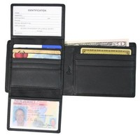 Nappa Leather RFID Blocking Euro Commuter Wallet, Black