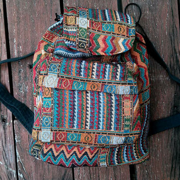 Tribal Bag Boho Ikat Abstract Native Design Bagpack Ethnic Rucksack Hippie Style Gypsy Handwoven Handmade Thai Tapestry Bohemian bag Purse