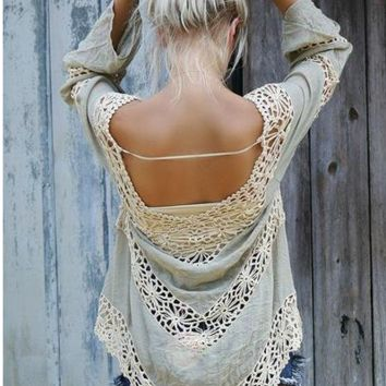 HOT LACE HANDMADE HOLLOW OUT BLOUSE BEACH TOP