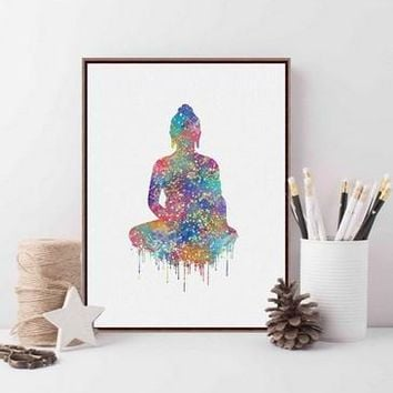 Original Watercolor Buddha Portrait Zen  Large Art Prints Poster Abstract Wall Pictures Canvas Painting Living Room Home Decor