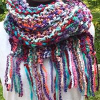 Multicolor Knit Scarf - Long Scarf - Fringe Scarf - Art Scarf - Women's Accessories