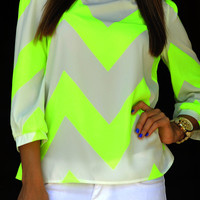 Wild Wide Chevron Top: Neon Yellow | Hope's