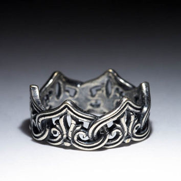 Crown Ring, Celtic Knot, sterling silver, size 17mm / US 6.5, handmade