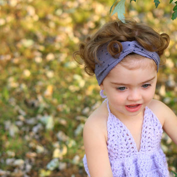 Lavender / Navy Polka Dots Turban Headband