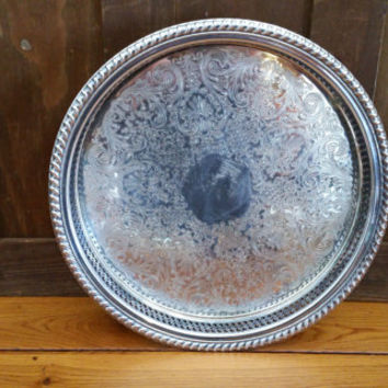 Vintage Silver Plated Pierced Round Tray WM Rogers Perfect for Decor and Entertaining