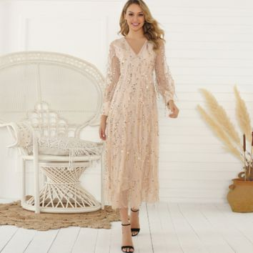 Autumn and winter fashion long-sleeved tassel sequin dress  [4258795880545]
