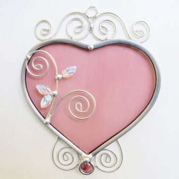 Stained Glass Heart Suncatcher Home Decor Pink Heart Leaded Sun Catcher Valentine Window Hanging