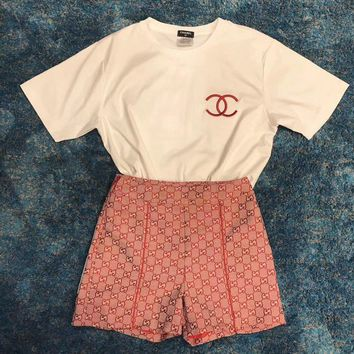 Chanel White T-shirt + GUCCI GG High Waist Short Set Two-Piece