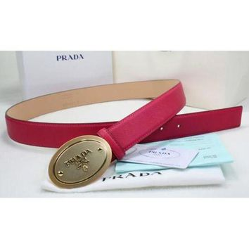 DCCKUN2 Prada Women or Men Fashion Smooth Buckle Leather Belt