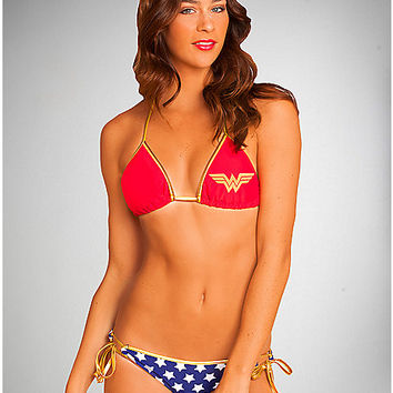 Wonder Woman Triangle Bikini - Spencer's
