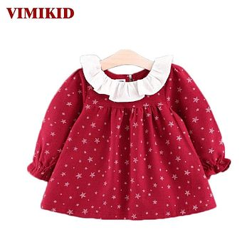 VIMIKID Baby Girls Dresses 2017 Doll Collar Full Printing Cotton Lovely Long Sleeve Cute Cotton Dress for Girls Kids Clothing