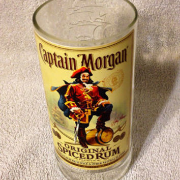 Captain Morgan Rum Bottle Glass Vase or Drinking Glass.