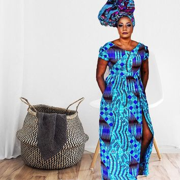 Bella Blue African Print Maxi Dress