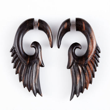 "Angel Wing Earrings - Fake Gauge Earrings - Wood Earrings Fake Piercing - Sono Wood ""Push Back Angel Wing"" Earrings - SUPER SALE"
