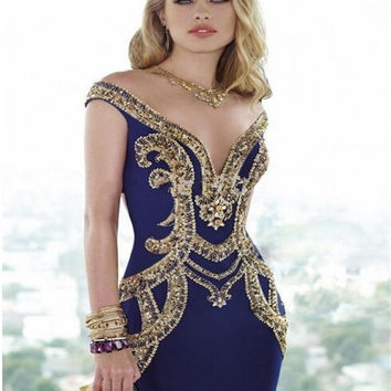 2017 Fashion Sexy Royal Blue Mermaid Evening Dress Shiny Gold Sequins Chiffon Long Vestido De Festa 2016 Evening Prom Gowns