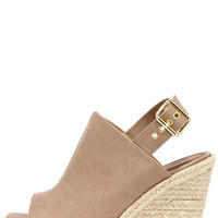 Dockin' Out Blush Beige Peep Toe Espadrille Wedges