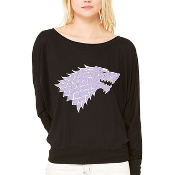 Game of Thrones Stark WOMEN'S FLOWY LONG SLEEVE OFF SHOULDER TEE