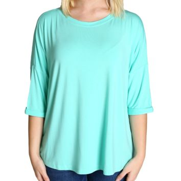 Lucite Green Piko Loose Sleeve Top