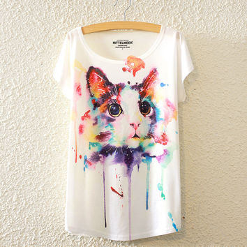 2017 Style Girls Cute Watercolor Tabby Cat 3D Digital Print Loose Bat Sleeve Pullover Top Shirts