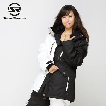 StormRunner snow ski jacket black and white  jacket women winter warm jacket for girls