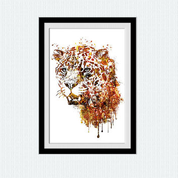 Leopard art print Leopard watercolor poster Home decoration Safari decor Animal wall art Kids room decor Wall hanging art Animal print W467