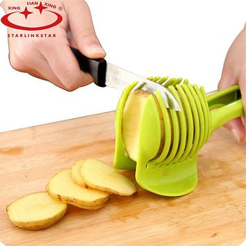 StarLinkStar. Tomato Slicer ABS Plastic Cutter Slicer Kitchen Gadgets Lemon Orange Fruit Knife Cake Holder Kitchen Accessories