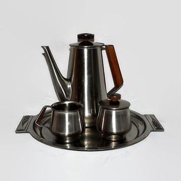 Danish Modern Coffee Tea Set - Stainless Steel and Teak Wood Tray - Creamer - Sugar & Coffee Pot - International Decorator Stainless