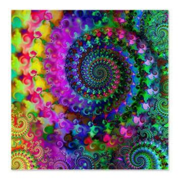 Psychedelic Rainbow Fractal Pattern Shower Curtain> Rainbow Fractal Art Gifts> Hippy Gift Shop Funky Hippie Gifts