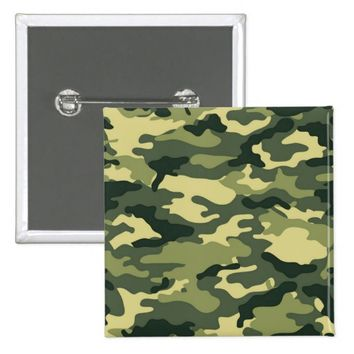 Green Camouflage Pattern 2 Inch Square Button