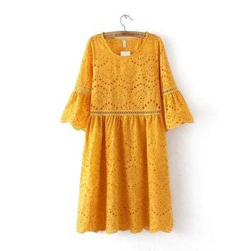 Summer Hollow Out Embroidery Leaf Round-neck Three-quarter Sleeve One Piece Dress [6332320004]