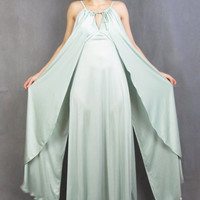 70s Grecian Draped Evening Gown Light Green Disco Goddess Bridesmaid Dress Mint Wedding Prom Dress Spring Formal Maxi Dress with Shawl (S)