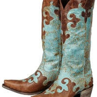 Lane Women's Turquoise & Brown Dawson Cowgirl Boots |Lane Boots