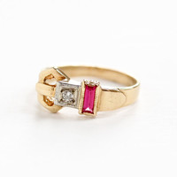 Vintage 14k Yellow , White Gold Diamond & Created Ruby Belt Motif Ring - Retro 1940s Size 4 3/4 Red Pink Gem Fine Two Tone Unique Jewelry