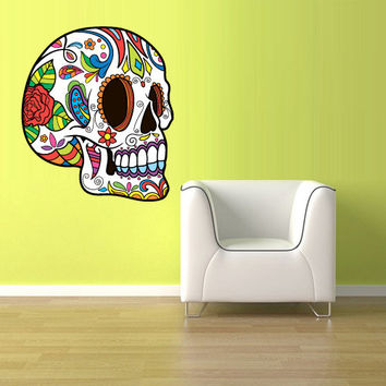 Full Color Wall Decal Mural Sticker Decor Art Beautyfull Cute Sugar Skull Bedroom Curly modern fashion (col555)