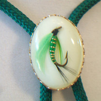 Vintage Green Fishing Lure Bolo Tie Fishing Bola Angler Fisherman Men's Accessories Shoestring Tie