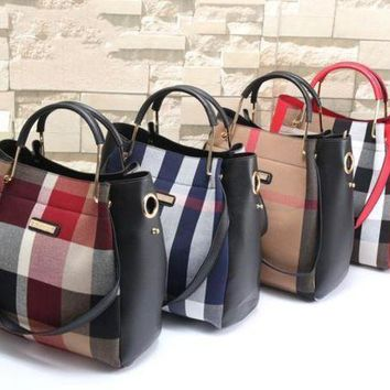 DCCKNQ2 Burberry Women Leather Shoulder Bag Satchel Tote Handbag Crossbody Two Piece Set