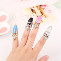 European Sweet Inlay Rhinestone Crown Finger Nail Ring