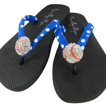 Baseball Polka Dot Flip Flop Sandals for Women and Girls, in Electric Blue Polka Dot ribbon