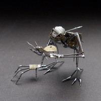 """Mechanical Creature """"Buddy"""" Recycled Watch Parts Organism Justin Gershenson-Gates Faces Stems Gears Arthropod Clockwork Robot Insect"""