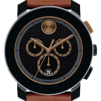 Movado 'Bold' Chronograph Leather Strap Watch, 44mm - Brown/ Black (Nordstrom Online Exclusive)