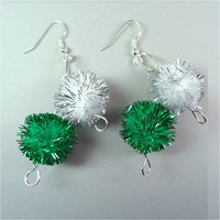 "Puff Ball Earrings 1 3/4"" Green White Pom Poms Fiber Art Women Ladies Girls Pierced Dangle with Silver Plated Ear Wires 532"