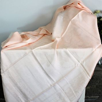 Vintage 1950s 1960s Pink Damask Tablecloth With Floral Pattern